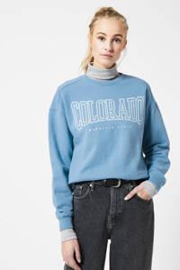 America Today sweater van biologisch katoen blauw, Blauw