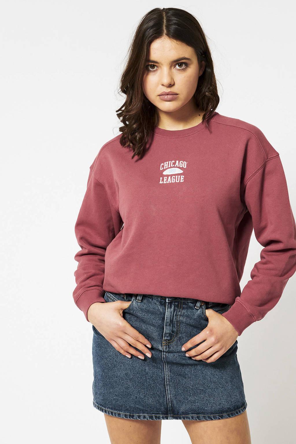 America Today sweater van biologisch katoen rood, Rood