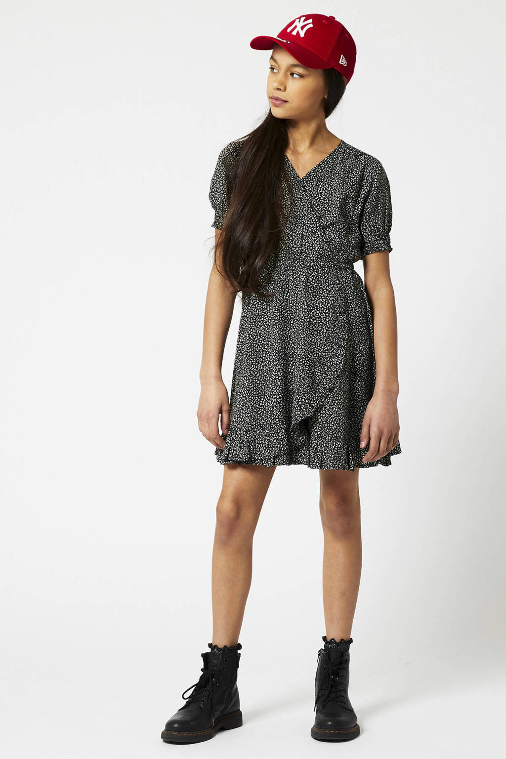 America Today Junior jurk Dakota met all over print zwart, Zwart