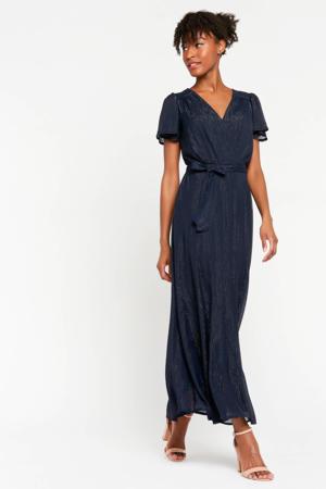 semi-transparante maxi jurk met glitters donkerblauw