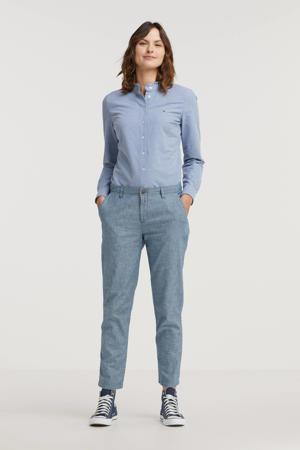 gemêleerde straight fit broek blauw