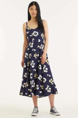 gebloemde A-lijn jurk donkerblauw