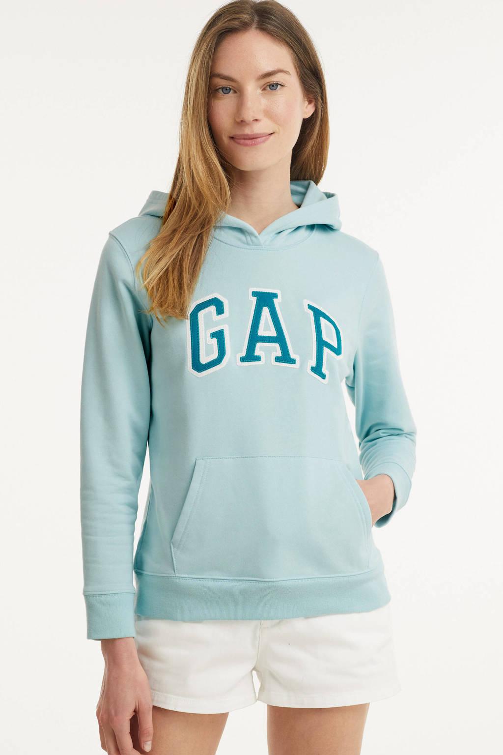 GAP hoodie met logo en borduursels lichtblauw/petrol/wit, Lichtblauw/petrol/wit