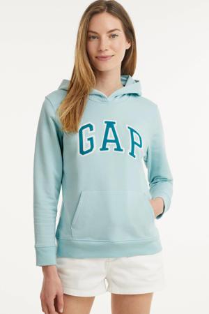 hoodie met logo en borduursels lichtblauw/petrol/wit