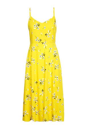 gebloemde A-lijn jurk geel
