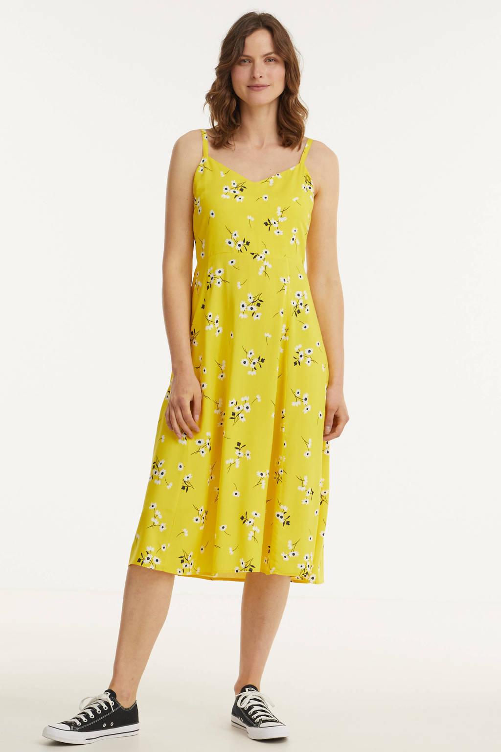 GAP gebloemde A-lijn jurk geel, Geel