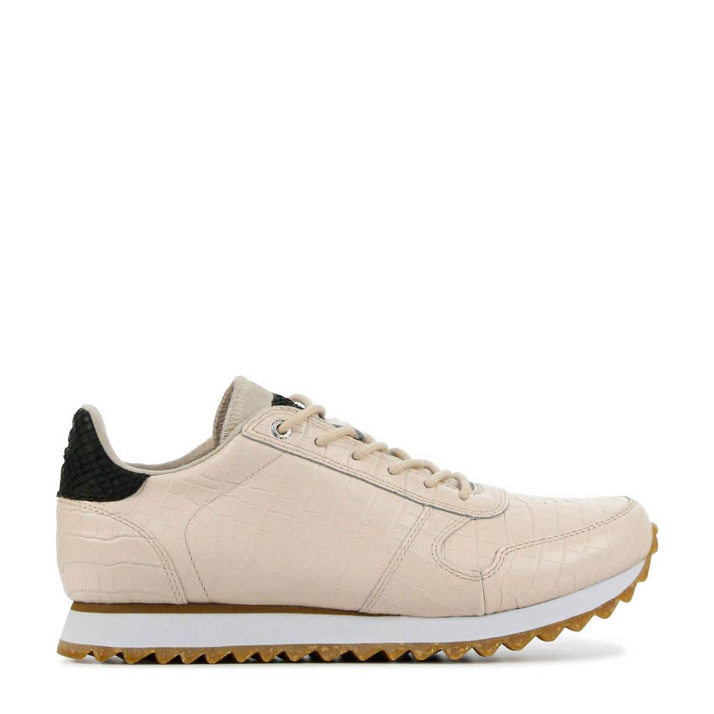 Woden Ydna Croco  leren sneakers off white, Ecru/Off white