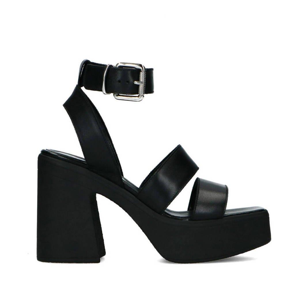 Sacha   leren plateau sandalettes zwart, Zwart