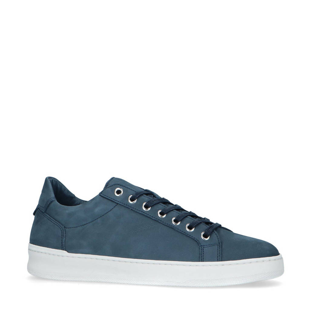Manfield   nubuck sneakers blauw, Blauw