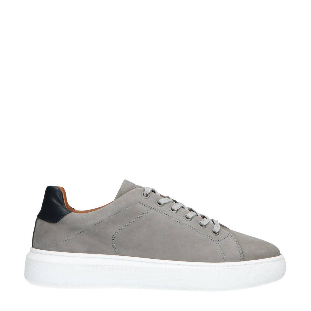 Manfield   nubuck sneakers grijs, Grijs/zwart