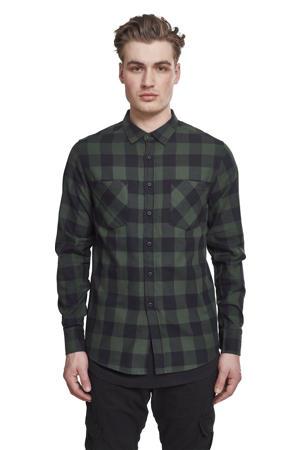 geruit flanellen slim fit overhemd donkergroen/donkerblauw