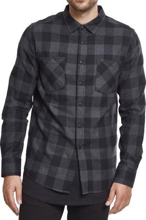 geruit flanellen slim fit overhemd grijs