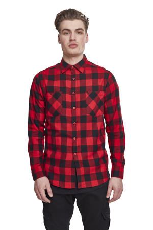 geruit flanellen slim fit overhemd rood