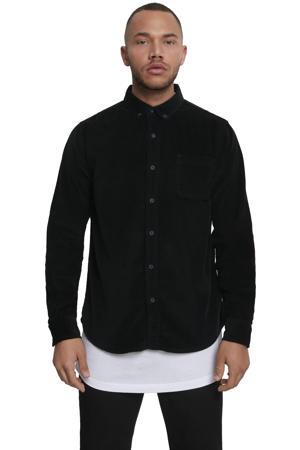 corduroy regular fit overhemd zwart