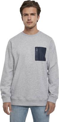 Urban Classics gemêleerde sweater Militar Crew lichtgrijs/blauw, Lichtgrijs/blauw