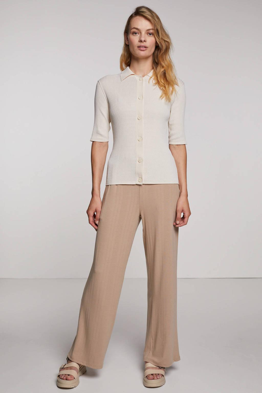 Minimum high waist wide leg palazzo broek Yarsa met textuur beige, Beige