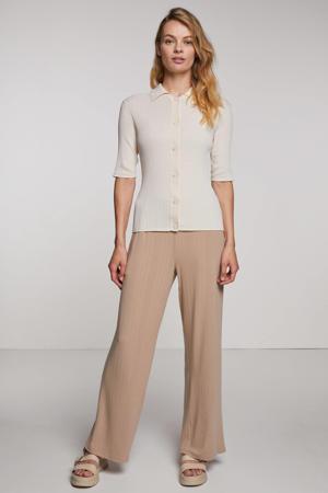 high waist wide leg palazzo broek Yarsa met textuur beige