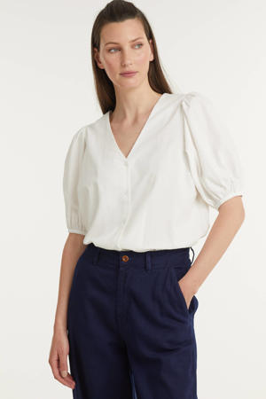 geweven blouse Oretta met plooien gebroken wit