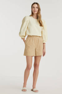 Minimum high waist loose fit short Acazio met textuur beige, Beige