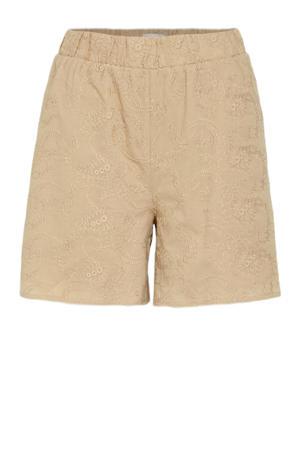 high waist loose fit short Acazio met textuur beige