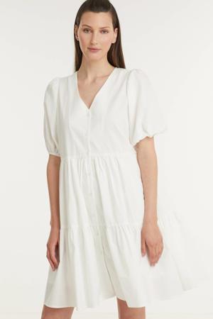 trapeze jurk Miamea met plooien gebroken wit