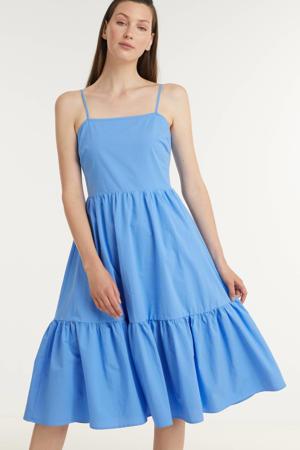 trapeze jurk Myria met plooien blauw