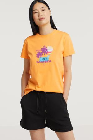 T-shirt Razi met printopdruk perzik
