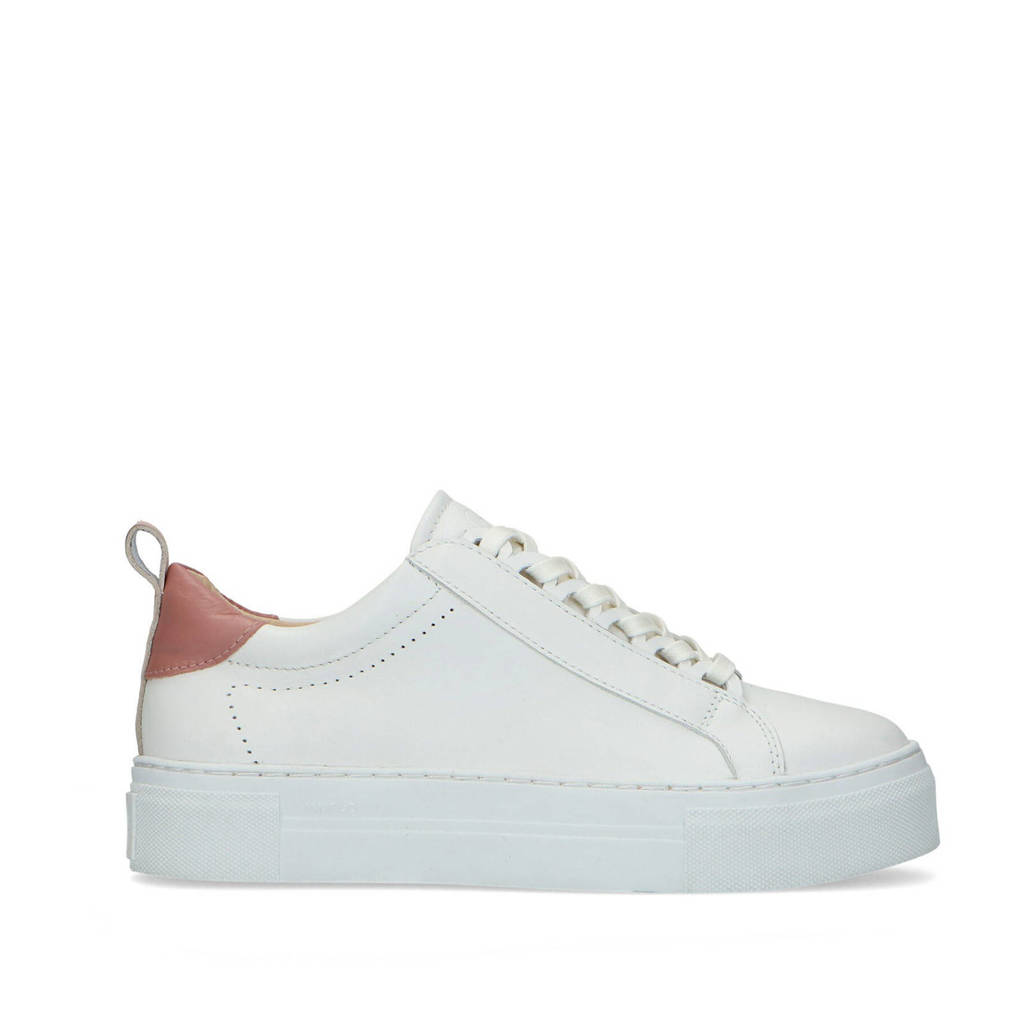 Mrs Keizer by Manfield   leren plateau sneakers off white/roze, Wit/Off white