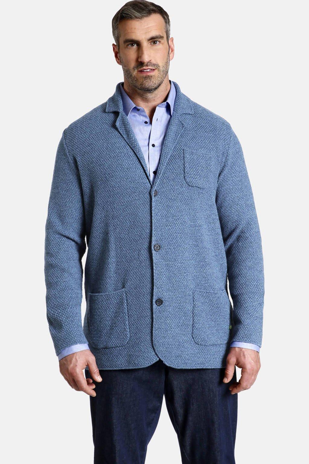 Charles Colby gebreid oversized colbert Earl JAMES Plus Size met wol blauw, Blauw