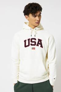 America Today hoodie Shane met tekst ecru, Ecru