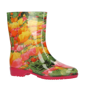 regenlaarzen met bloemenprint roze