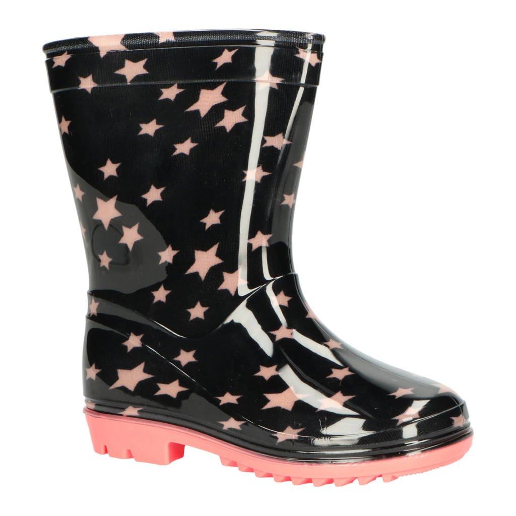 XQ   regenlaarzen met sterrenprint zwart/roze, Zwart/roze