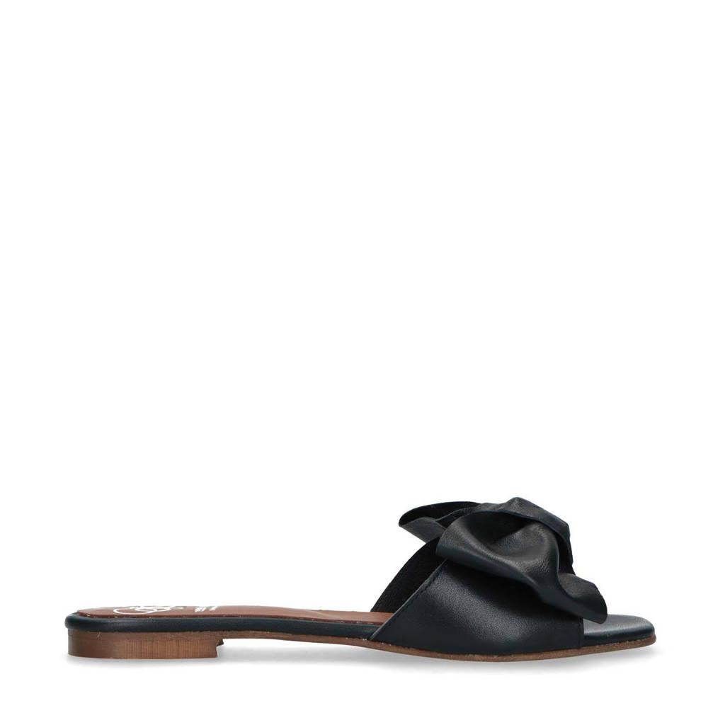 Mrs Keizer by Manfield   leren slippers met strik zwart, Zwart