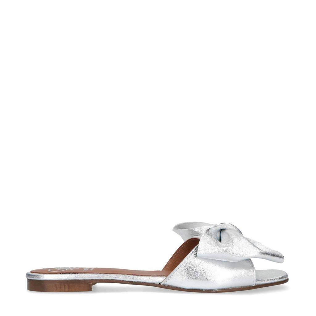 Mrs Keizer by Manfield   leren slippers met strik zilver, Zilver