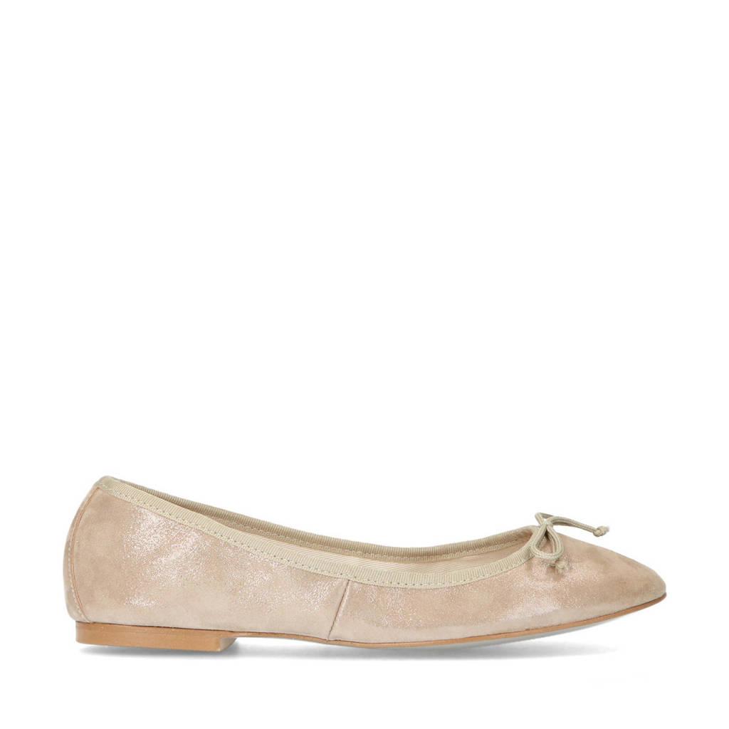 Mrs Keizer by Manfield   leren ballerina's beige, Beige/goud
