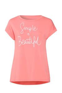 Paprika T-shirt met tekst koraalrood, Koraalrood