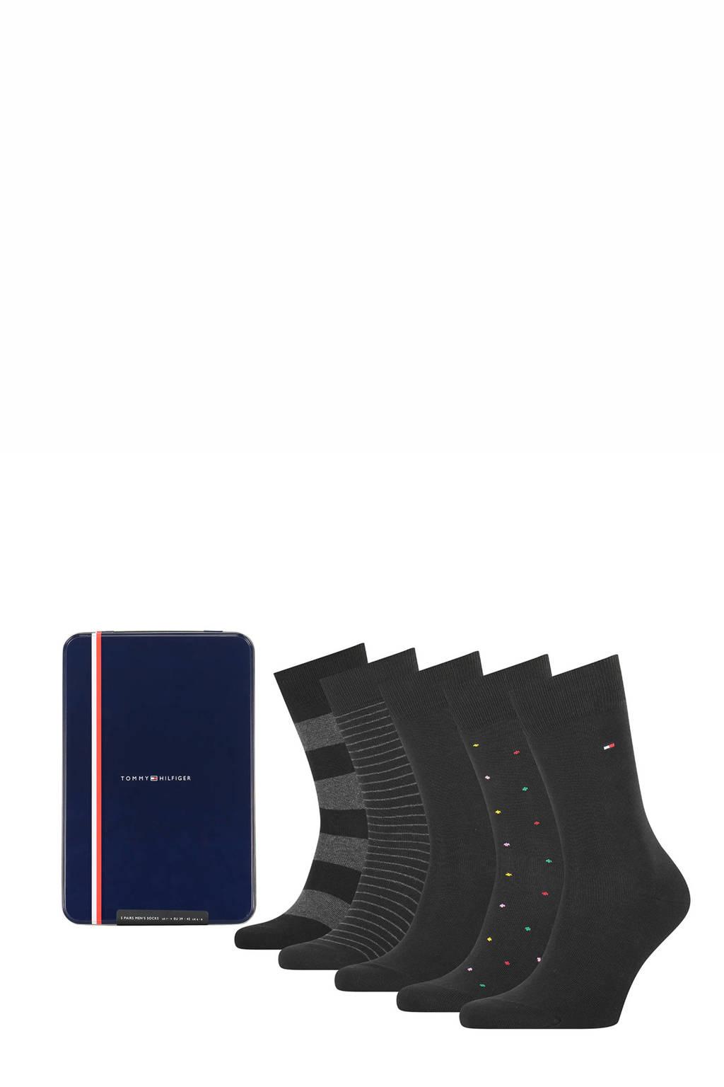 Tommy Hilfiger giftbox sokken - set van 5 zwart, Zwart