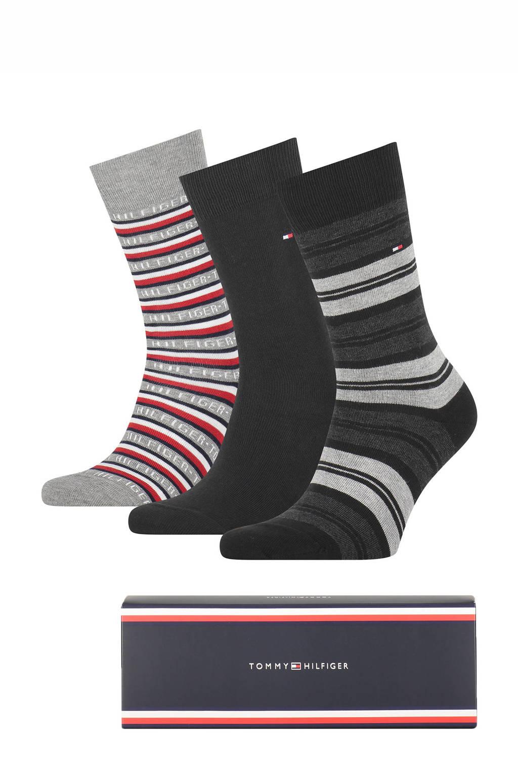 Tommy Hilfiger giftbox sokken - set van 3 zwart/grijs, Zwart/grijs