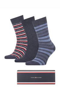 Tommy Hilfiger giftbox sokken - set van 3 denimblauw, Denimblauw/grijs