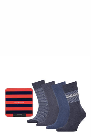 giftbox sokken - set van 4 denimblauw