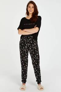 Hunkemöller pyjamatop met printopdruk zwart, Zwart