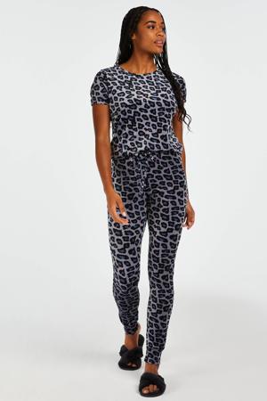 velours lounge legging met panterprint grijs/zwart