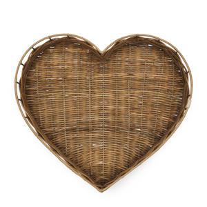 Rustic Rattan Heart dienblad