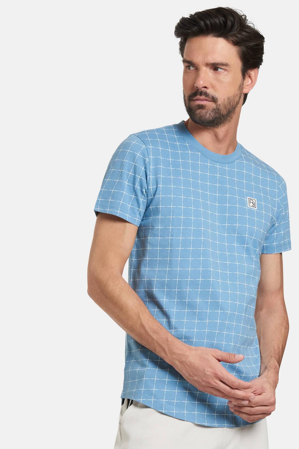 Refill by Shoeby geruit T-shirt Tobi lichtblauw, Lichtblauw