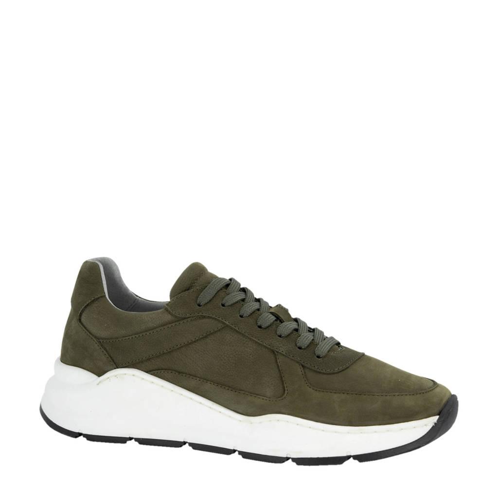 Oxmox   leren sneakers groen, Groen/Kaki