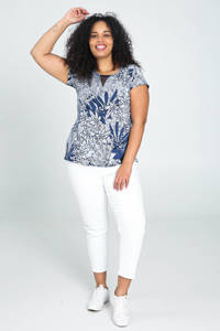 Paprika T-shirt met all over print en mesh donkerblauw/wit, Donkerblauw/wit