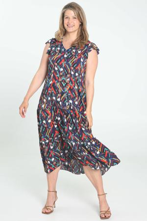 semi-transparante A-lijn jurk met grafische print en ruches donkerpaars/rood/blauw