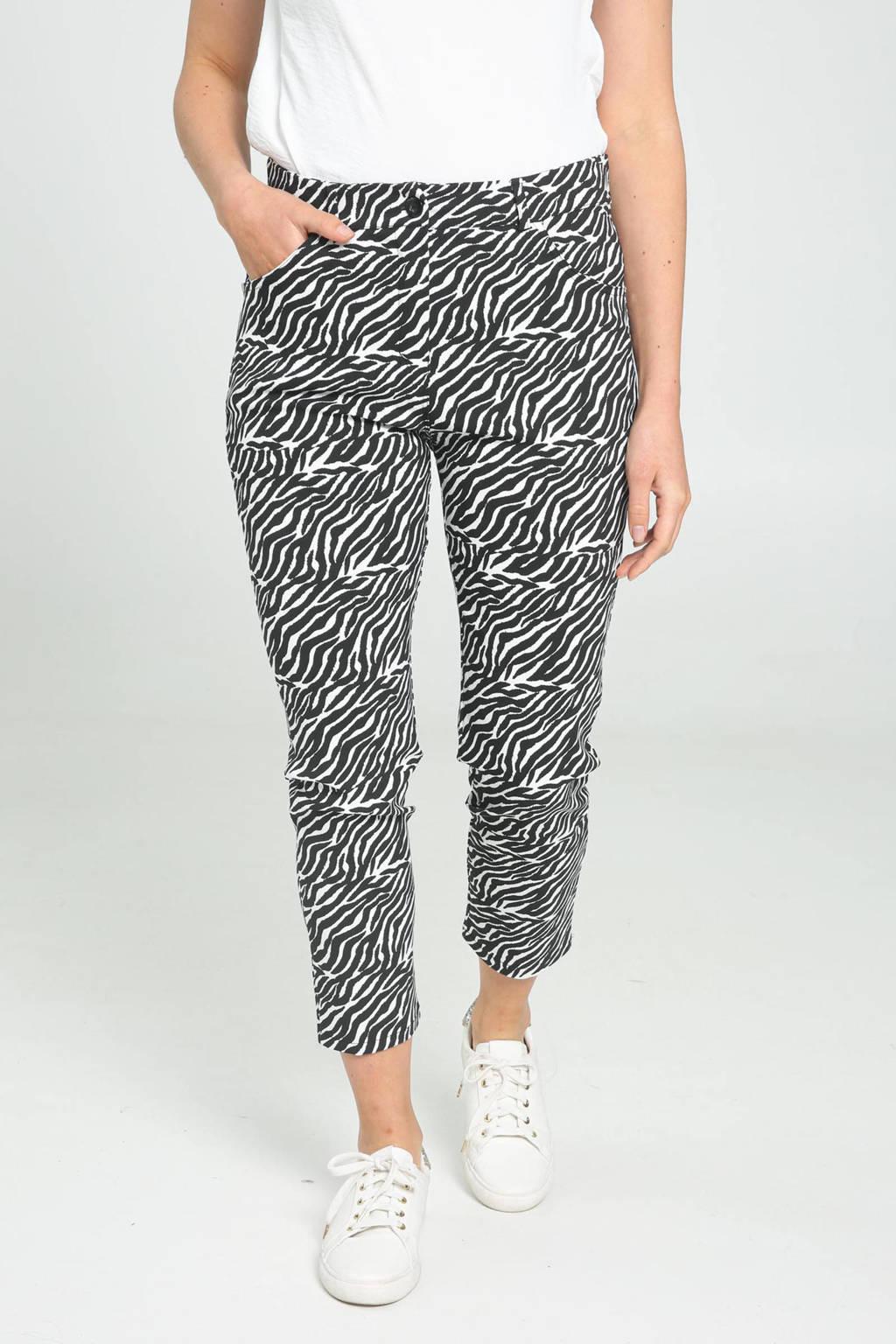 Cassis slim fit broek met all over print zwart, Zwart