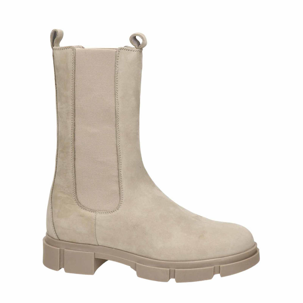 Nelson   hoge nubuck chelsea boots taupe, Taupe