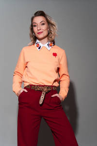 Pinned by K sweater Red Clover met printopdruk lichtoranje, Lichtoranje